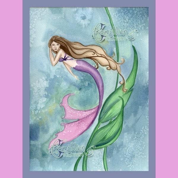 Mermaid Swimming Drawings Mermaid Swimming Print From