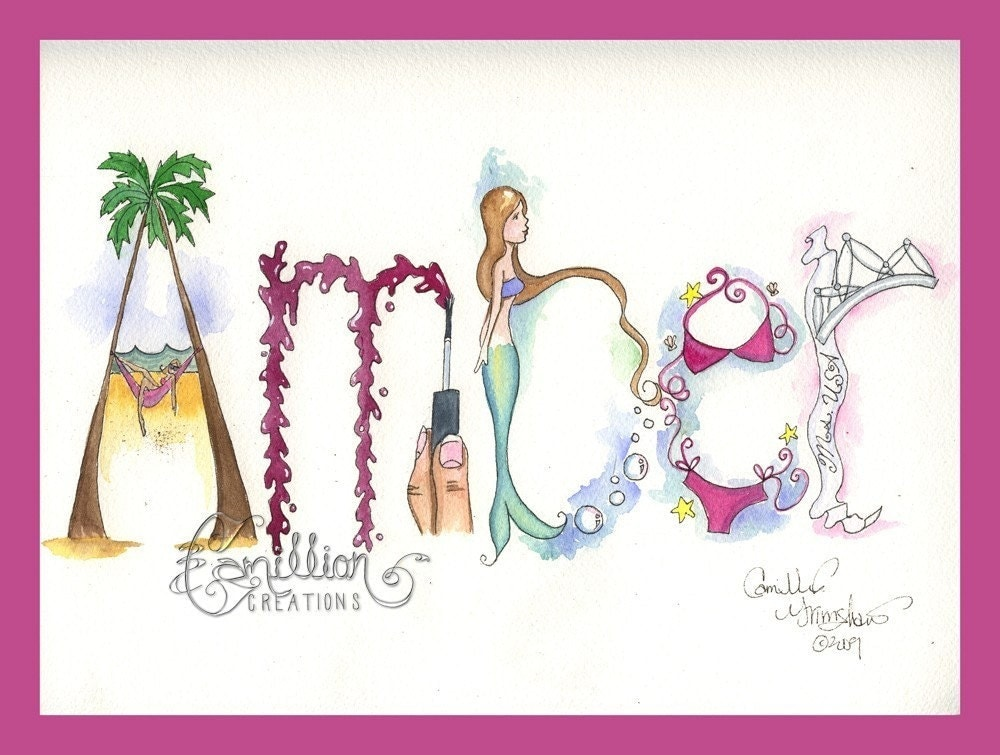 Name Design Art : Letter personalized name art illustration original