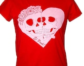 Day of the Dead is for lovers Red T shirt Skull heart