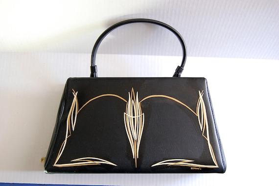 Pinstriped black vintage kelly hand bag purse rockabilly 1950