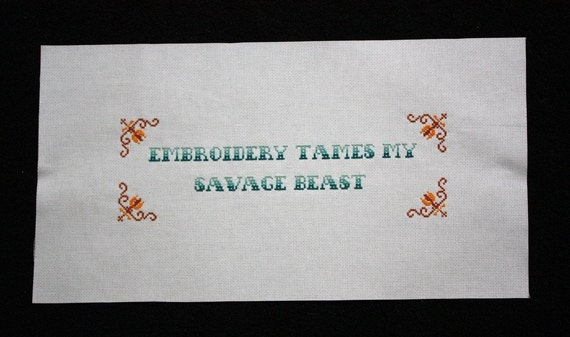 NEW Embroidery Tames My Savage Beast E-Pattern from Radical Cross Stitch