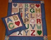 Alphabet Doll Quilt and Pillow