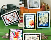 Quotable Mixed Media - Set of 6 unique and original art postcards - FREE SHIPPING