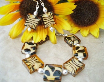 Bracelet and Earrings Set  Animal Print Glass Beads