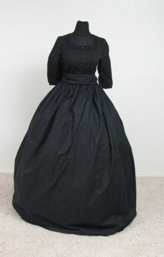 Civil War Reenactment Victorian Mourning Gown 2 Pieces Skirt and Sash