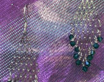 Emerald Basket Chandelier Earrings