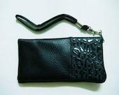 Faux leather black pouch