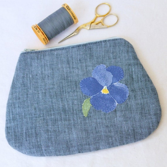 Sweet Pansies - eco friendly - Hand embroidered zippered pouch with upcycled fabrics