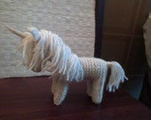 knitted wool unicorn, waldorf style