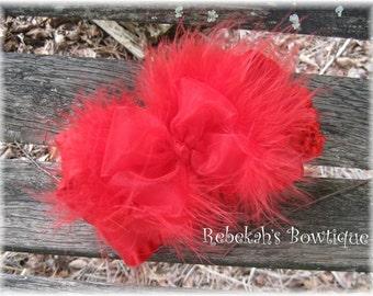 Christmas hair clip, Red Marabou hair bow, Christmas headband, Valentines Day hair bow, Baby headband, Double Ruffle Bow, Hair Accessories
