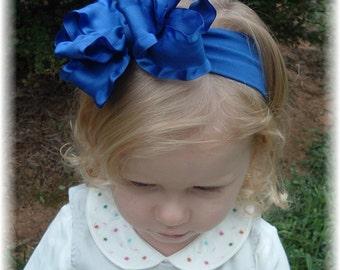 royal blue headband, double ruffle hair bows, blue headband, baby headband, double ruffle headband, 4th of July headband, newborn headband