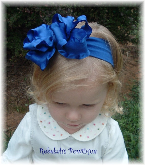 royal blue headband, double ruffle hair bows, blue headband, baby headband, double ruffle headband, 4th of July headband, newborn headband