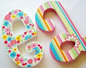 BLOOMING COLORS Custom Hand Painted Decorative Wooden Wall Letters RESERVED for ELLA