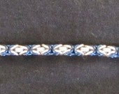 RESERVED for Denise Blue and platinum white chainmail bracelet