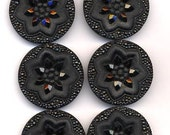 Antique Black Glass Buttons Floral Design Marcasite Style Edging and Back Molded Glass Shank
