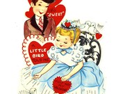1960 Large Vintage Valentine with Love Birds and Loving Couple Theme Southern Belle and Gentleman