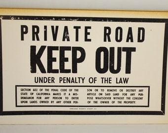 Vintage Letterpress Sign  Cardstock Letterpress Sign  Private Road Keep Out