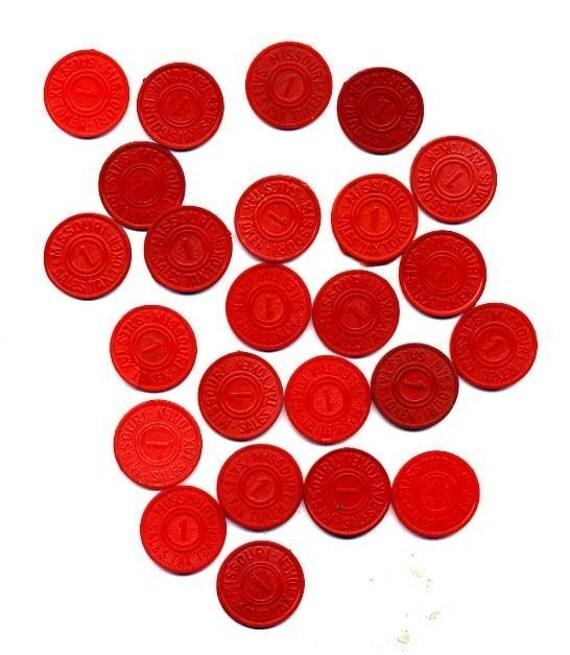 VINTAGE Missouri  Sales  Tax Token  1 MILL RED PLASTIC