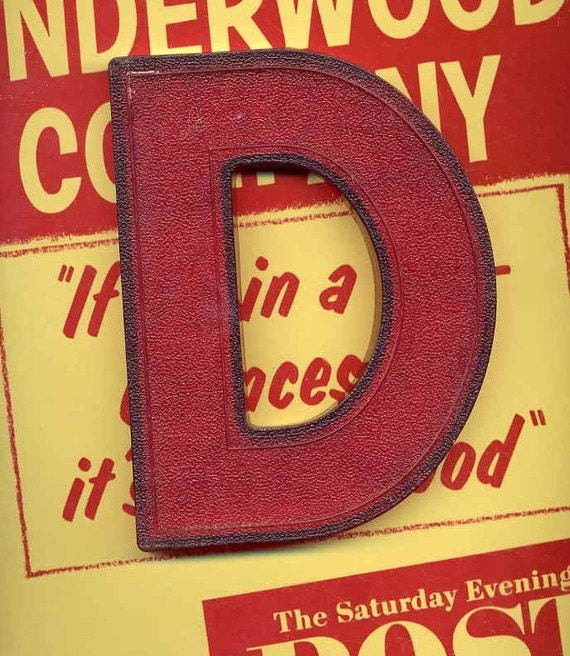 Vintage Marquee Red Letter Salvaged Sign Letters Letter D