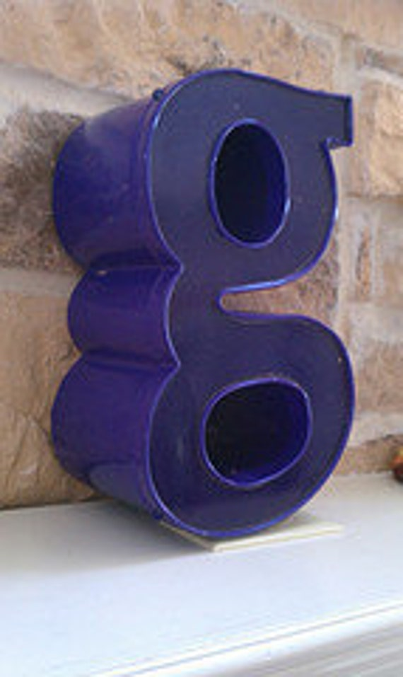 Letter G  Industrial Salvage Letter   Three Dimensional Sign Letter  Purple Lowercase g   Alphabet Letters
