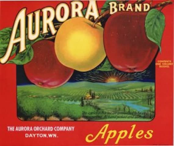 1940 Aurora Brand Apple Crate Lable  Lithographed in Reds and Yellow