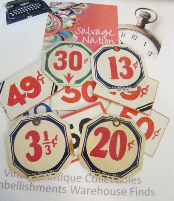 Old Store Price Tags  Variety of Sizes and Price on Tags Vintage Price Tags