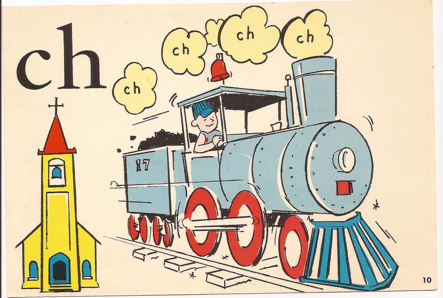 Vintage Flash Card CH Sound Phonics and Words Drill Card
