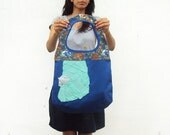 SALE Mint on Blue and Flowers Round Bag