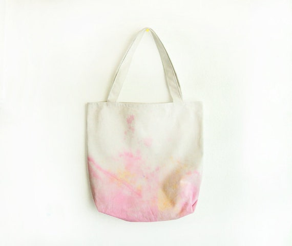light pink and beige dyed texture canvas tote