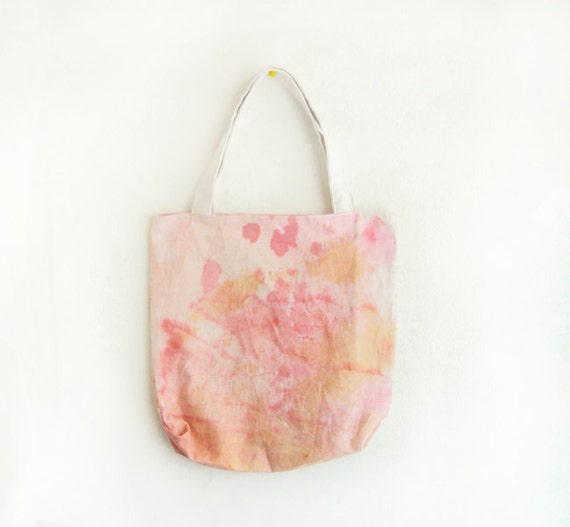 coral, pink and beige dyed texture canvas tote