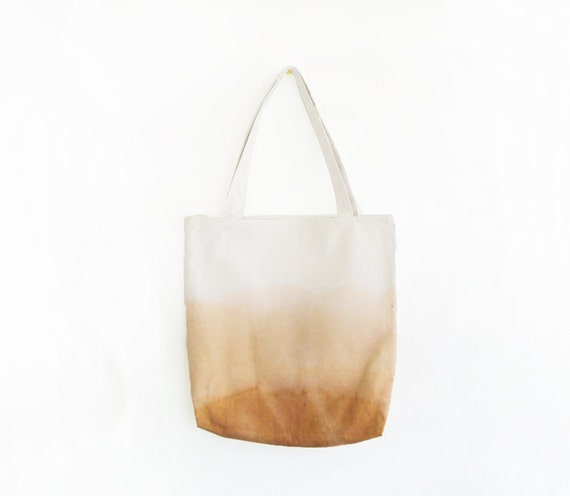 caramel brown dyed texture canvas tote