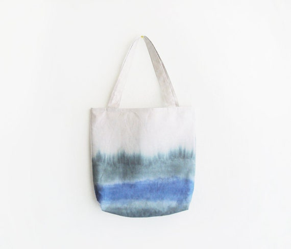 blue and green dyed texture canvas tote