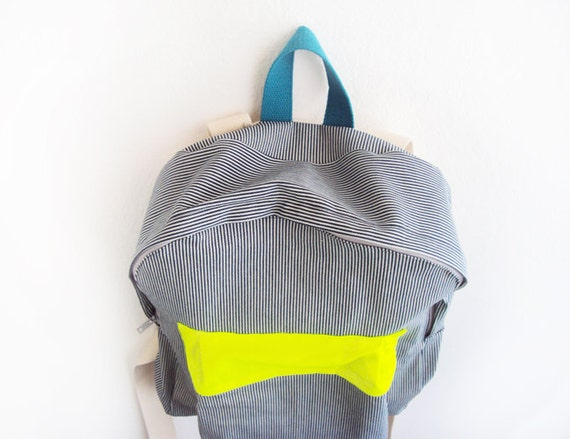 Blue and white stripes backpack with neon yellow