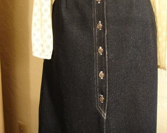 70s Poly Denim A Line Skirt with Cool Crest Buttons