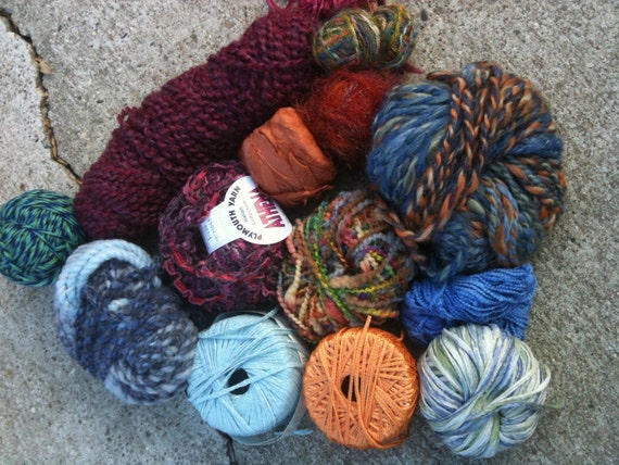 Designer Yarn Palette 1 Pound of Yarn in Orange and Blues