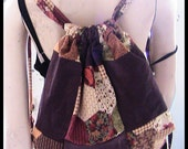 MADE TO ORDER Patchwork Earthtone Brown Corderoy and Earthtone Print Adjustable Drawstring Backpack
