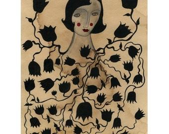 Midnight Blossoms-Archival art print, black vines, black flowers, blossoms, black botanical