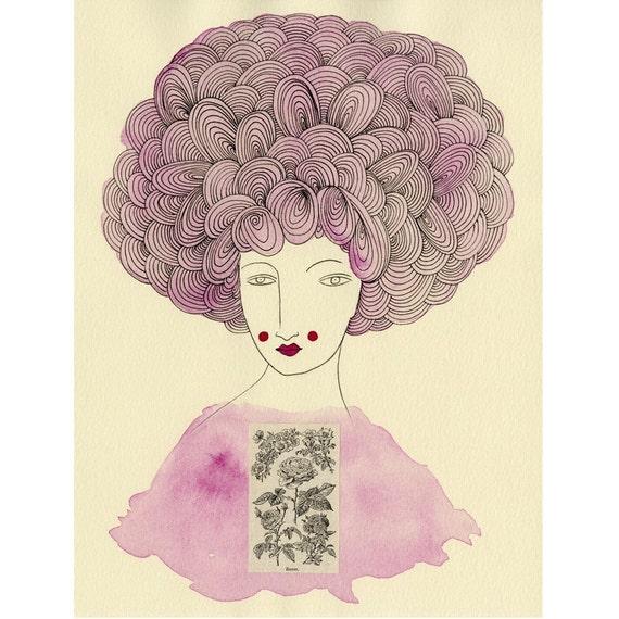 Art Print -Madame Rose--Roses, Floral Rose Print, Flower Print, Floral Print, Pink Print, Pink