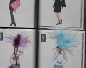 """Fashion illustration """" Yves St.Laurent """" four beautifully boxed 5x7 note cards cards"""