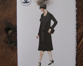 "1927 Coco Chanel fashion illustration ""Dress and coat with pearl trim"" note card"
