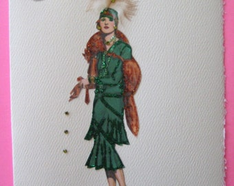 """1928 Coco Chanel fashion illustration """"Sitabout Dress"""" note card"""