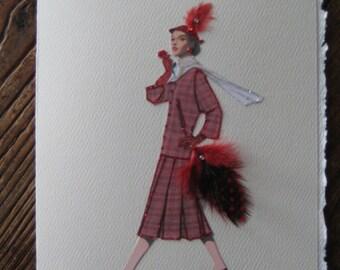 "1952 fashion illustration Balenciaga"" Plaid Suit"" fashion print note card"