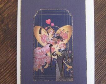 "Art Deco romantic card""You Make My Heart Sing"""