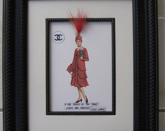 "Fashion illustration Framed CocoChanel1926 ""Red Coat and Dress Ensemble""11x14"