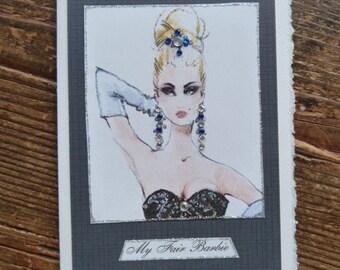 "Barbie vintage Fashion Illustration ""My Fair Barbie"" note card"