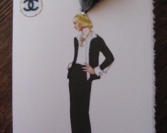 "Coco Chanel Fashion Ilustration 1956""Black suit lined with white satin""5x7 note card"