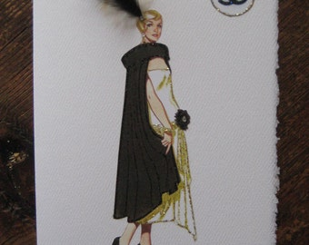 """1920 Coco Chanel fashion illustration """"Evening Cape trimmed with fur""""note card"""