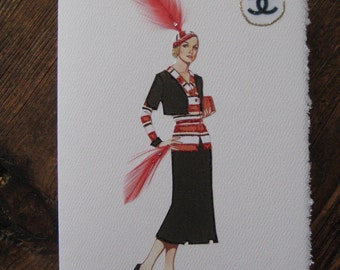 "1933 Coco Chanel fashion illustration ""English period"" note card."