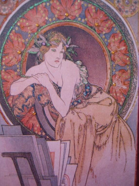 """Fashion illustration Mucha Art Nouveau """"Golden Girl"""" 8x10 plaque"""