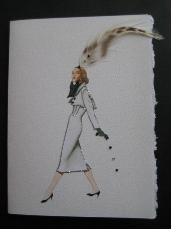 """1951 Fashion illustration Norman Norell """"Wasp-waisted dress""""  note card"""